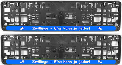 """2x witzige Kennzeichenhalter/ Nummernschildhalter """"Zwillinge-eins kann ja jeder"""""""