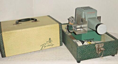 Vintage BRUMBERGER SlIde Projector W/ Paperwork, Slide Bracket & Case Model 1319