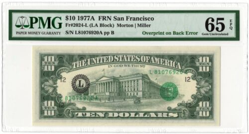 1977A $10 Overprint of Back Error Note! PMG 65EPQ! UNCIRCULATED! AWESOME ERROR!!