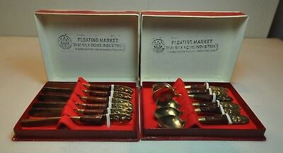 Vintage Set Of Knives And Spoons Thailand Thai Brass Asian Flarware ()