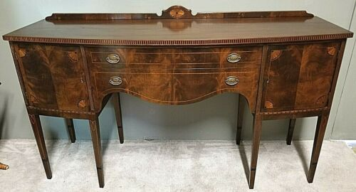 Antique 19th Cent SHERATON FEDERAL Style Mahogany Marquetry Buffet Sideboard 70""