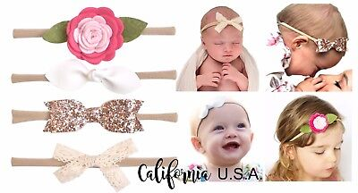 California Tot Nylon Headband Newborn Baby Toddler Bow leather knot Shabby Chic
