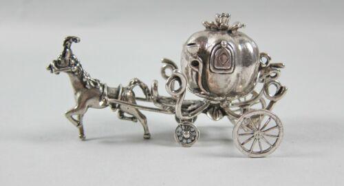 Julio 800 Sterling Mini Cinderella Horse Drawn Pumpkin Carriage Figurine Italy