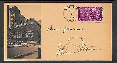 Glenn Miller & Benny Goodman Autograph Reprint On Orig. Period 1939 3X6 Card 104