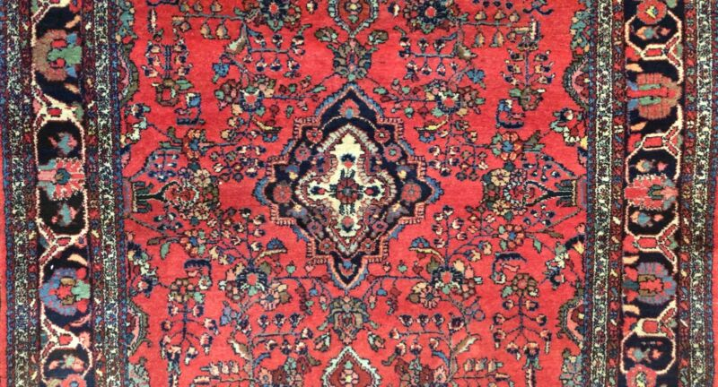 Delightful Dergazine - 1920s Antique Oriental Rug - Floral Carpet - 6.5 X 8.9 Ft