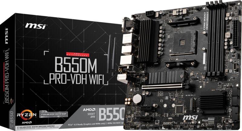 MSI B550M PRO-VDH WIFI AM4 AMD B550 PCIe 4.0 USB3.2 Gen1 Micro-ATX Motherboard