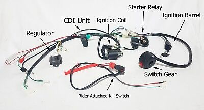 WIRSET01 WIRING AND PARTS FOR 110CC 125CC QUAD LOOM, CDI, RELAY, REGULATOR,
