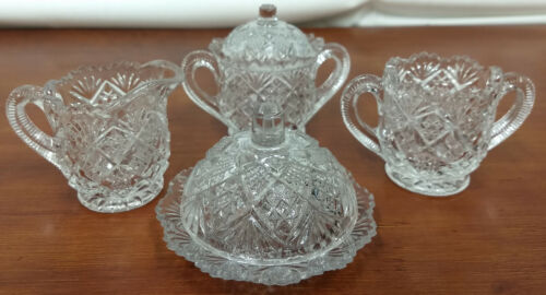 Westmoreland EAPG Glass THUMBELINA Flattened Diamond Complete CHILDS TABLE SET