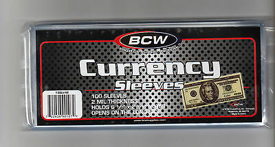 100 Regular Dollar Bill Currency Sleeves - Money Holders- Protectors - Brand New