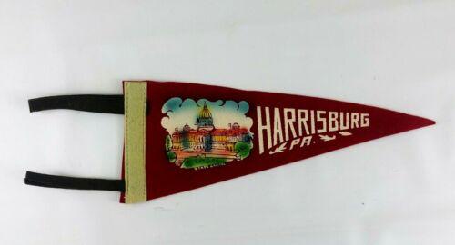 Harrisburg PA Souvenir Felt Pennant Flag Vintage 1950s State Capitol Kitsch Penn