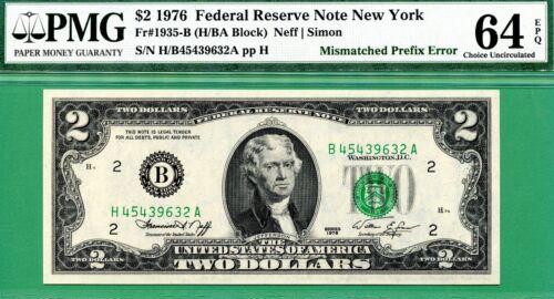 MISMATCHED PREFIX ERROR - 1976 $2 FRN - PMG CU 64 - Fr 1935-B - MISMATCH PREFIX