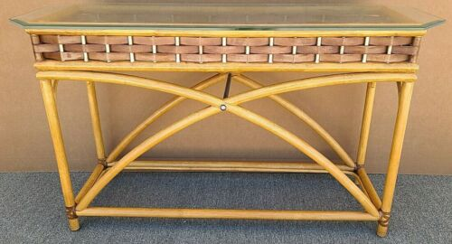 Vintage MCM Bamboo Leather Rattan & Glass Display Console Sofa Entryway Table