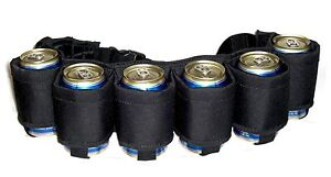 BEER BELT! Redneck Can Holster Beer & Soda 6 Pack Holder Cans Party Drinks BLACK