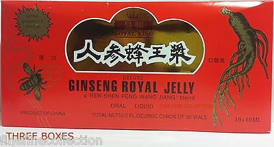 3 Boxes Ginseng Royal Jelly Extract Extra Strength Energy Endurance 2000Mg