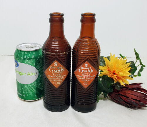 TWO EARLY! ORANGE CRUSH SODA BOTTLES 1951 BROWN RIBBED ACL GLASS +DURAGLASS