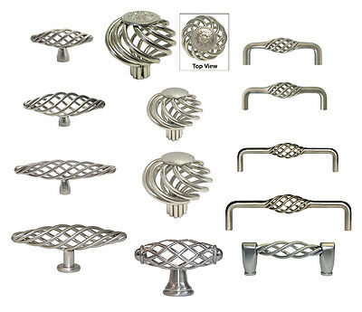 Cabinet Pull Drawer Handle Birdcage Knob Kitchen Hardware Brushed Satin (Birdcage Cabinet Pull)