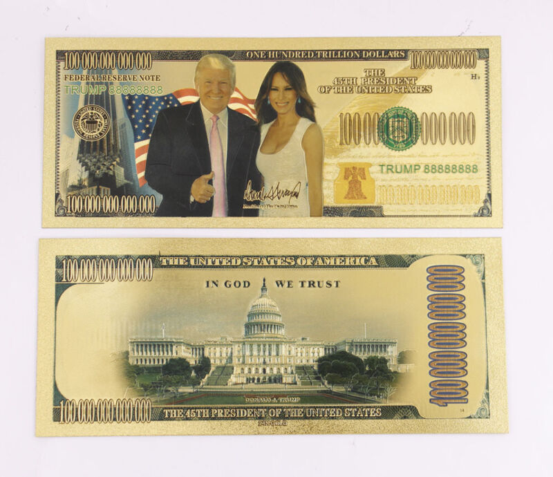 10 Pcs Donald & Melania Trump One Trillion Gold Banknotes Money Crafts Idea Gift