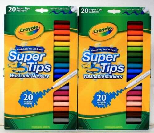 2 Packages Crayola Super Tips 20 Count Draw Thin Or Thick Washable Markers