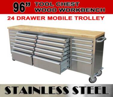 """96"""" 2.4m Tool Chest Rolley Trolly Workbench Wooden Top 24 drawers"""
