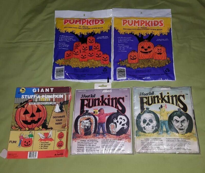 Vintage Pumpkids Funkins Stuff A Pumpkin Halloween Yard Bag Decoration Lot