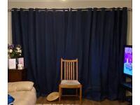 Denim blue Extra wide eyelet Curtains