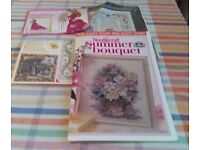 Four different cross stitch charts only. Called The Princess and Dragon, Lady, Bouquet, Sampler.