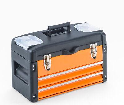 Werkzeugkiste 2 Schubladen, METALL Kunststoff orange Einlegefach Werkzeugkasten