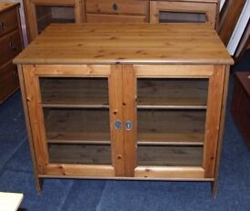 Pine storage cupboard with glass doors (with key)
