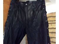 OSX 305 SOFT THCK LEATHER TROUSERS NWT 32 WAIST BIKER/ROCK/FESTIVAL /GOTHIC