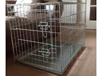 PGO Folding Silver Dog Crate Medium with Non Chew Metal Tray and Carry handles