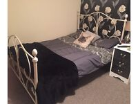 White double metal bed frame
