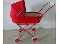 Dolls Pram Classic Style. Fully Collapsable Mint Condition. Red.
