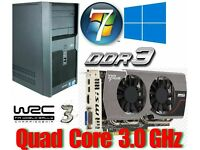Gaming PC, Intel QUAD CORE 3.0GHz, HD7850 2GB Gddr5 , 6GB Ram, 500GB