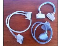 Three external SCSI cables, suitable for SCSI external devices, Akai and Kurzweil samplers etc.