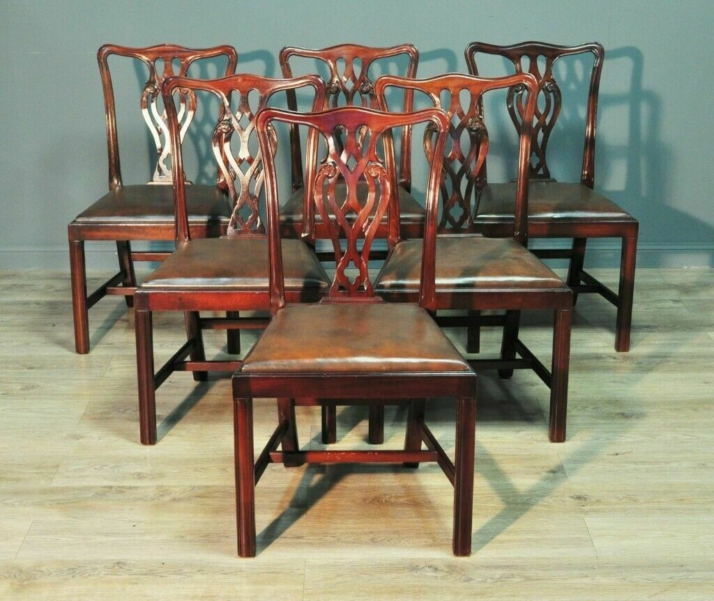 7e5d54433981f Set Of Six 6 Vintage Chippendale Style Mahogany Dining Chairs ...