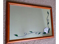 LARGE PINE FRAMED MIIRROR 85cm x 60 cm with PINK ROSE / LEAVES LEADED DETAIL collect m'bro £12