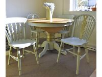 dining table ,chairs shabby chic gold solid kitchen conservatory farmhouse can deliver old charm