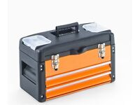 Tool box 2 Drawer, METAL orange Pull out tray tool Chest Brand new Boxed