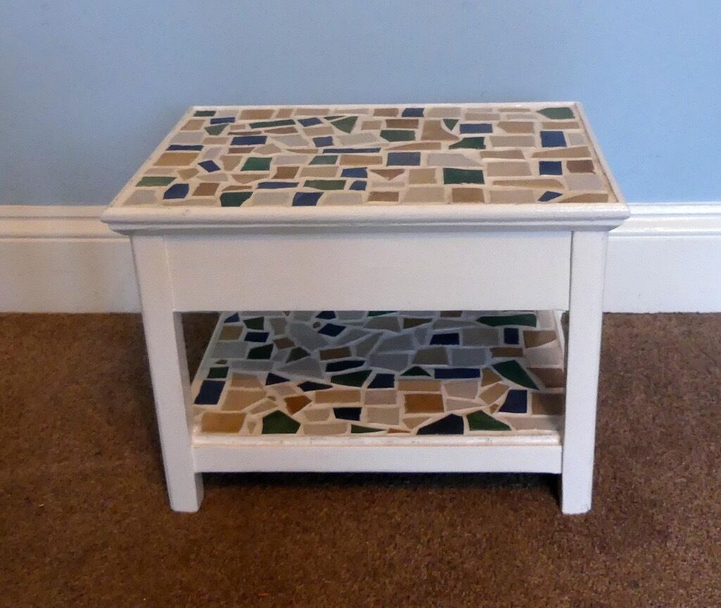 """Retro/ Vintage Decorative Mosaic Small Coffee Tablein Bassaleg, NewportGumtree - Retro/ Vintage Decorative Mosaic Small Coffee Table Excellent condition Measurements Height 13"""" (33cm) Width 18"""" (46cm) Depth 12.5"""" (32cm) I have lots of other various items for sale on Gumtree. If you are interested in taking look, click on """"see..."""