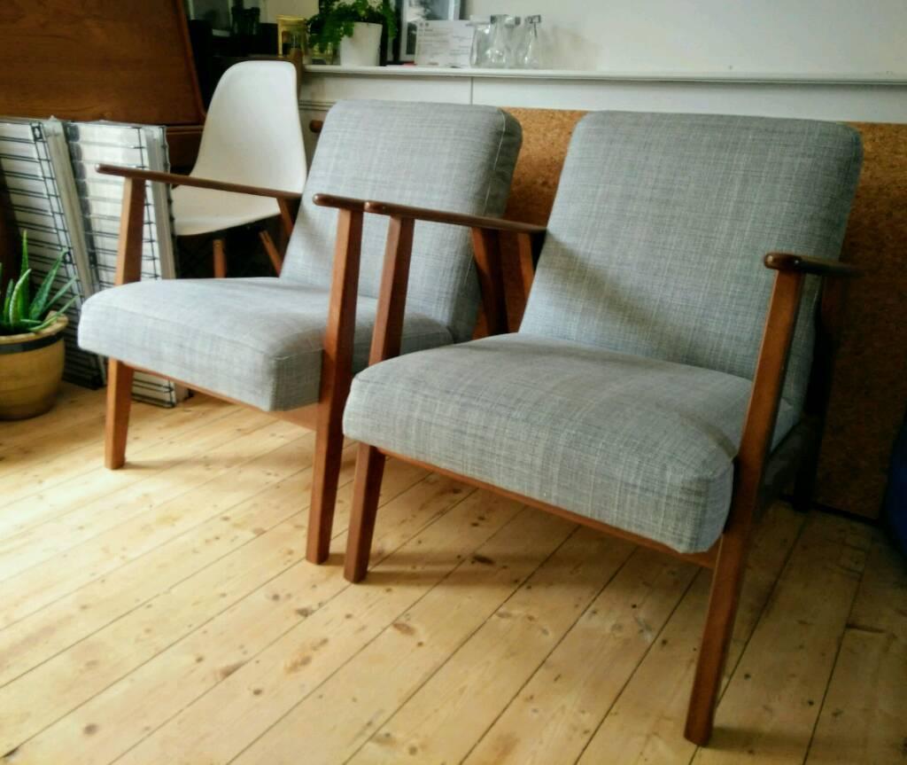 Ekenaset Armchairs X2 Ikea Mid Century Style Grey Wood