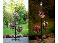 Solar Garden Lamp Post with plants