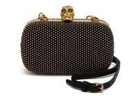 Alexander McQueen Black and gold box clutch