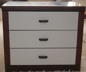 Matching Set of Bedroom Chest of Drawers, Bedside Table and Corner Shelving Unit