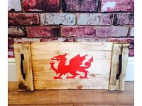 HANDMADE RUSTIC WOODEN WALES WELSH DRAGON TEA/SERVING TRAY QUIRKY PRESENT