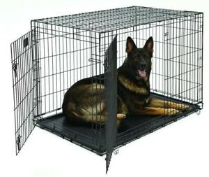 NEW 2 DOOR 48 IN XXL FOLDING DOG CAGE & TRAY DC48 DOG KENNEL PORTABLE CAGE