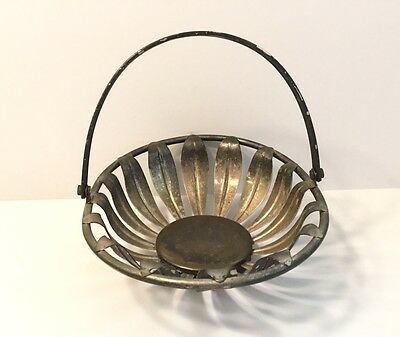 Silver Plated Bread Basket With Handle, Flower Design - 9  - $14.95