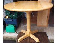 Round Drop Leaf Table, Pedestal Leg