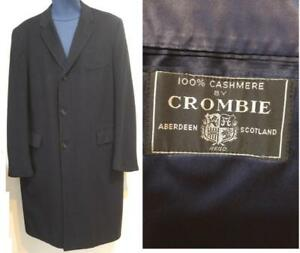 MENS 100% Cashmere Overcoat CROMBIE COAT SCOTS WOOL Navy Dark Blue Excellent Supersoft Warm Vtg Retro Winter Jacket Mans