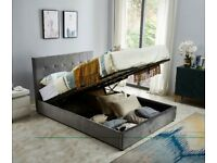 Sophia King Size Ottoman Smooth Velvet Bed - Grey