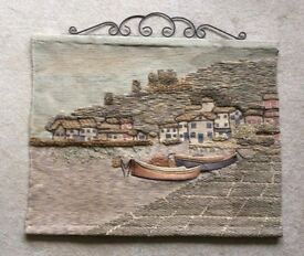 Wool tapestry wall hanging depicting an English coastal fishing village, home textiles